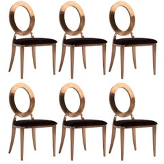 "Set of Six Copper Lacquered and Black Velvet ""Louise"" Chairs"