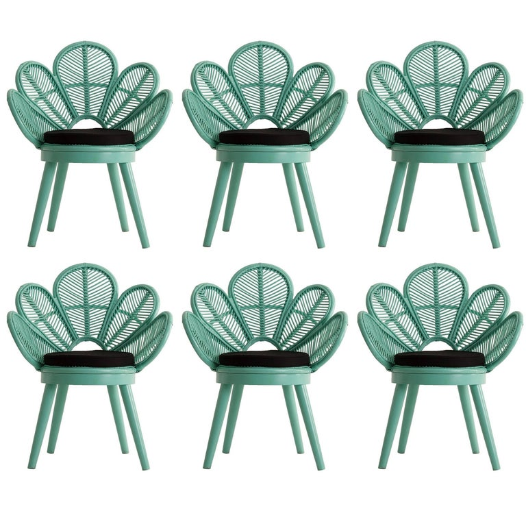 Set of Six Rattan and Wooden Azur Lacquered Armchairs