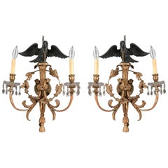 Pair of Georgian or Regency Style Eagle Wall Sconces, circa 1900