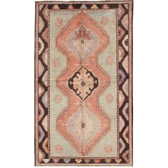Turkish Oushak Rug with Geometric in Tangerine, Green and Brown