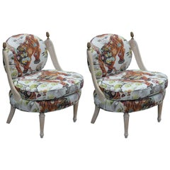 Exquisite Pair of Tiger Hollywood Regency Slipper Lounge Chairs