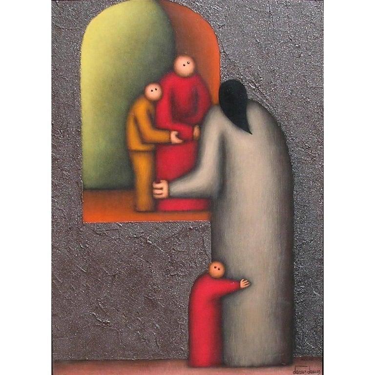 "Original Painting by Mexican Modernist Jesus Leuus, ""Mujer y Los Ninos"""