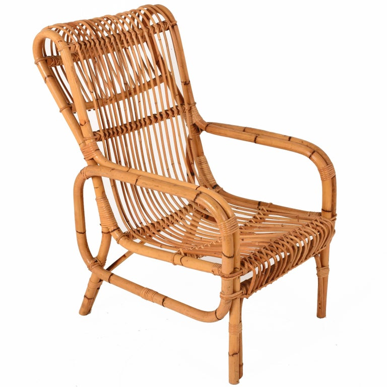 Midcentury Rattan and Bamboo Lounge Chair, Italy, 1960s Armchair