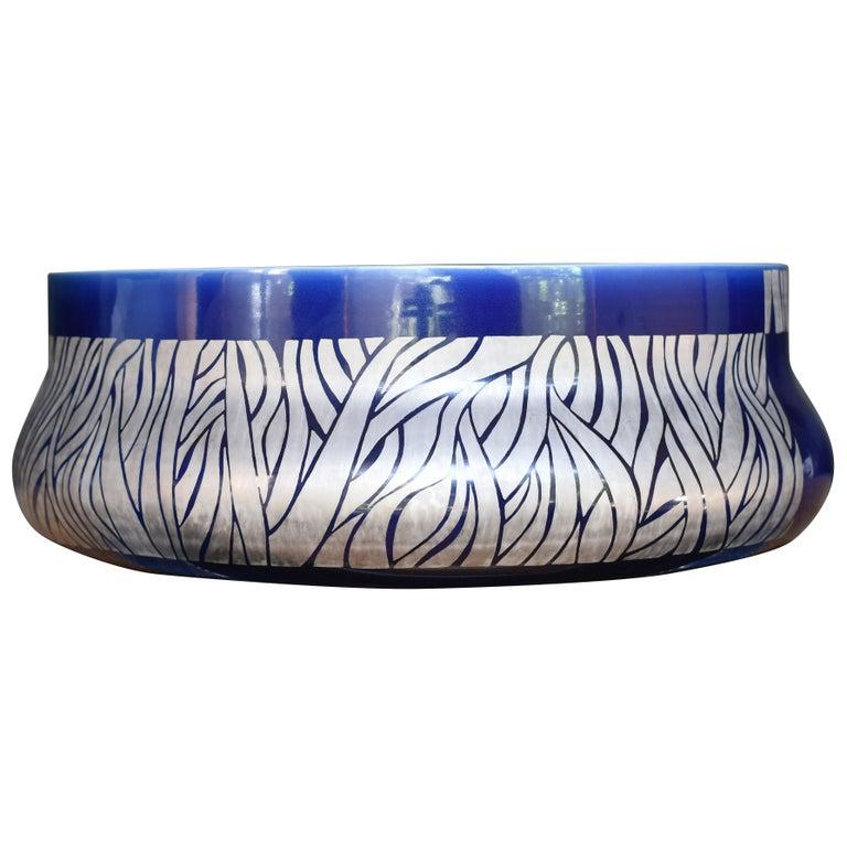 Large Japanese Blue Platinum Porcelain Centerpiece by Master Artist, circa 2005