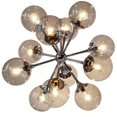 1970s Lightolier 12-Arm Chrome Sputnik Chandelier with Glass Shade, USA