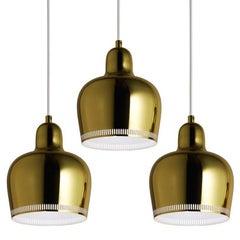 Alvar Aalto A330S 'Golden Bell' Brass Pendant Light for Artek