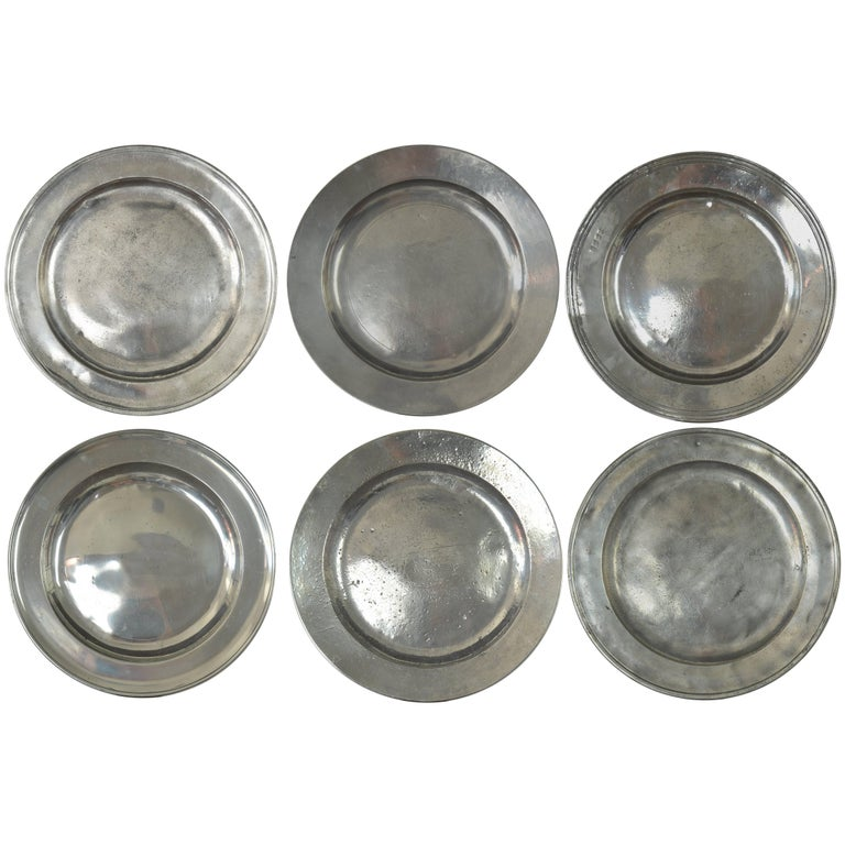 Group of Large Antique Polished Pewter Chargers, English, 18th Century