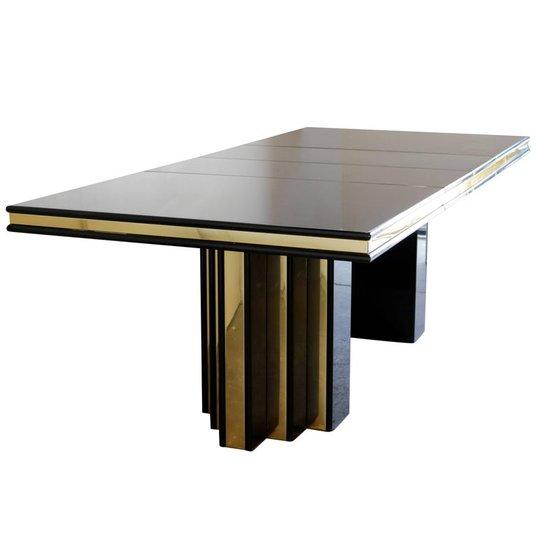 Brass and Black Lacquer Dining Table by Roger Rougier For Sale