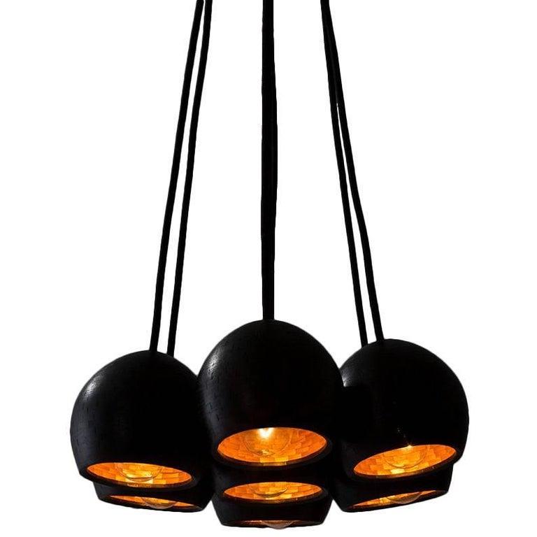 Contemporary American Ash Cluster Pendant Light, Custom Lighting, Chandelier