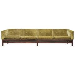 Saporiti Four-Seat Sofa in Green Velvet and Rosewood