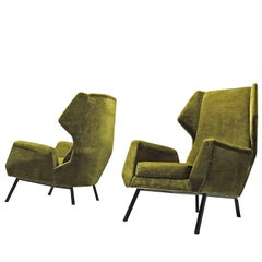 Set of Two Green Velvet Easy Wingback Chairs
