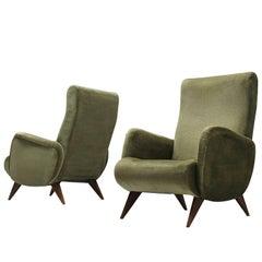 Set of High Back Easy Chairs in Green Velvet
