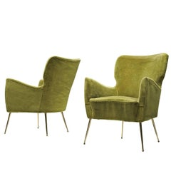 Pair of Elegant Wingback Chairs in Original Green Velvet