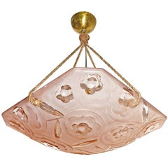 French Art Deco Pink Chandelier Pendant by Degué, circa 1930