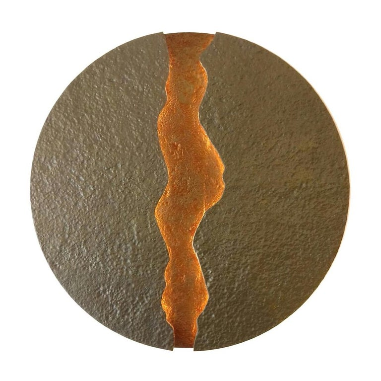 Bronze Wall Light, Volcanic Eruption, Leds Illuminated For Sale