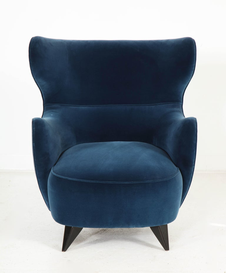 Modern Wing Chair in Blue w/ Maple Wood Base Offered by Vladimir Kagan Design Group For Sale