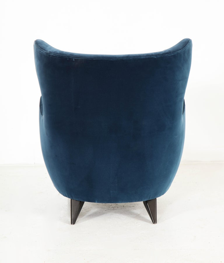 Wing Chair in Blue w/ Maple Wood Base Offered by Vladimir Kagan Design Group For Sale 4
