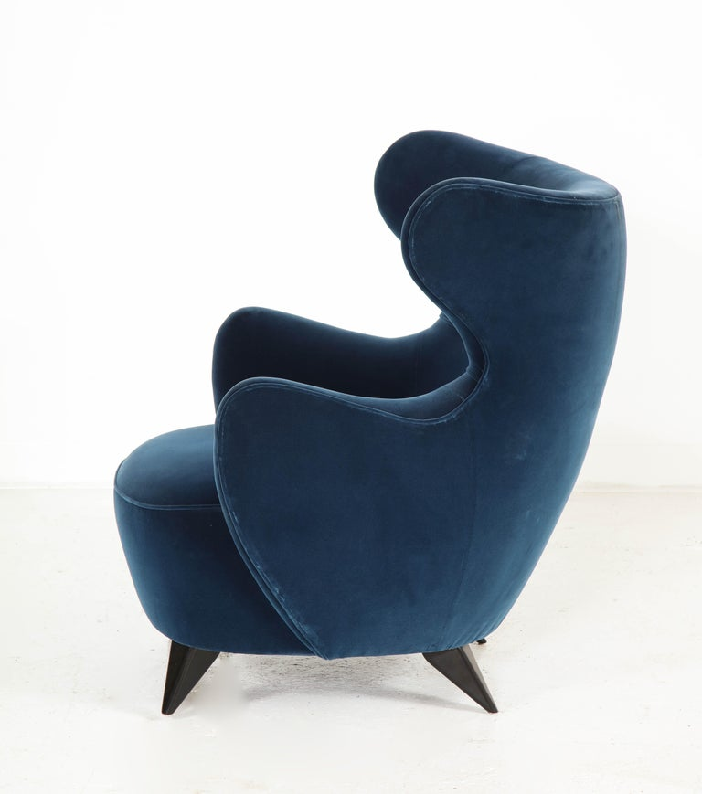 Wing Chair in Blue w/ Maple Wood Base Offered by Vladimir Kagan Design Group For Sale 6