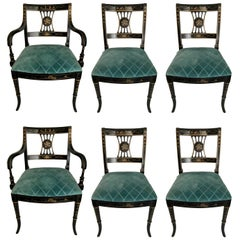 Set of Six Union National Black and Gold Painted Chinoiserie Dining Chairs