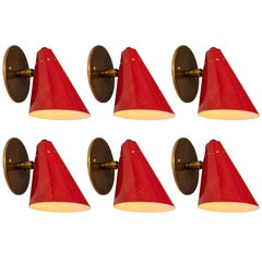 1950s Italian Red Cone Sconces in the Manner of Arteluce