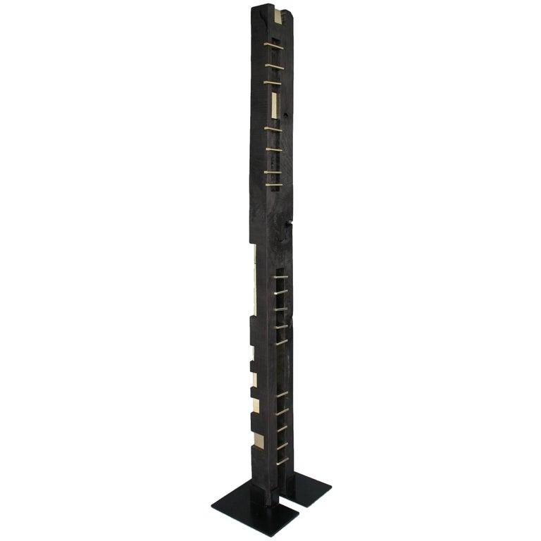 24-Karat Black TOTEM Sculpture in Ebonized Wood and Solid Brass For Sale