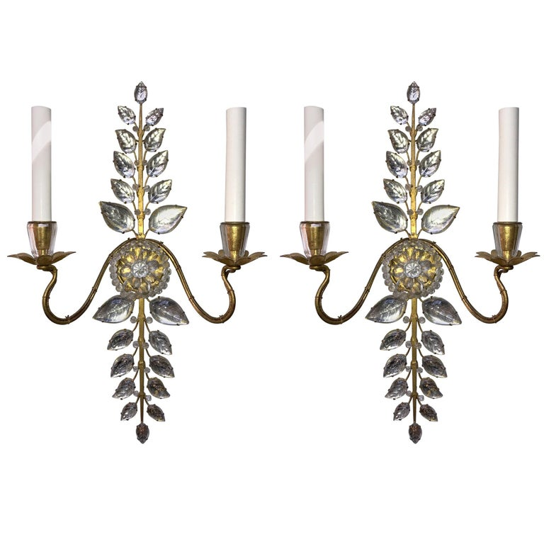 Mid Century Modern Vintage Pair Bagues French Leaf Flower Beaded Crystal Sconces For Sale