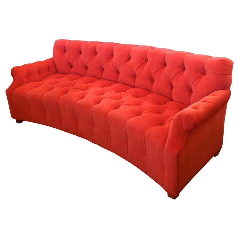Curved mid century tufted sofa for sale at 1stdibs for Tufted couches for sale
