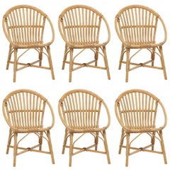Rattan Set of Six Armchairs