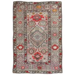 Antique Caucasian Throw Rug