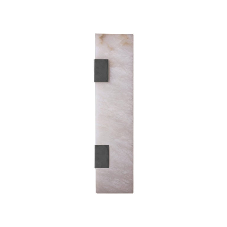 Contemporary 003-2C Sconce in Brushed Nickel and Alabaster by Orphan Work, 2018