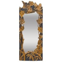 Hollywood Regency Mirror with Gold Colored Birds and Bamboo, 1920s, France
