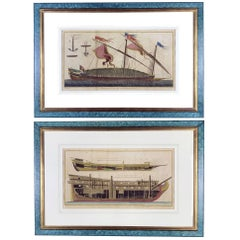 Pair of Marine Etchings Reale Ship Galley Prints Paris Diderot Benard 1772