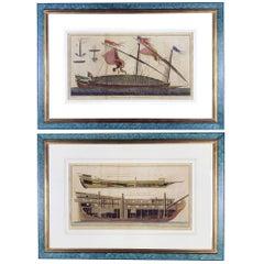 Pair of Marine Nautical Etchings Paris Diderot Benard 1772  French Engravings