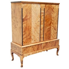Swedish Deco Era Biedermeier Revival Cabinet in Highly Figured Golden Birch