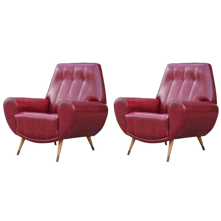 Pair of Sculptural Modern Italian Lounge Chairs