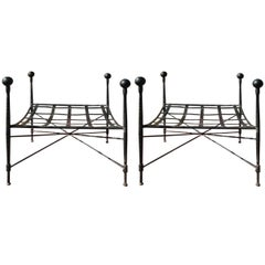 Salterini Pair by Mario Papperzini Italian Wrought Iron Ottomans