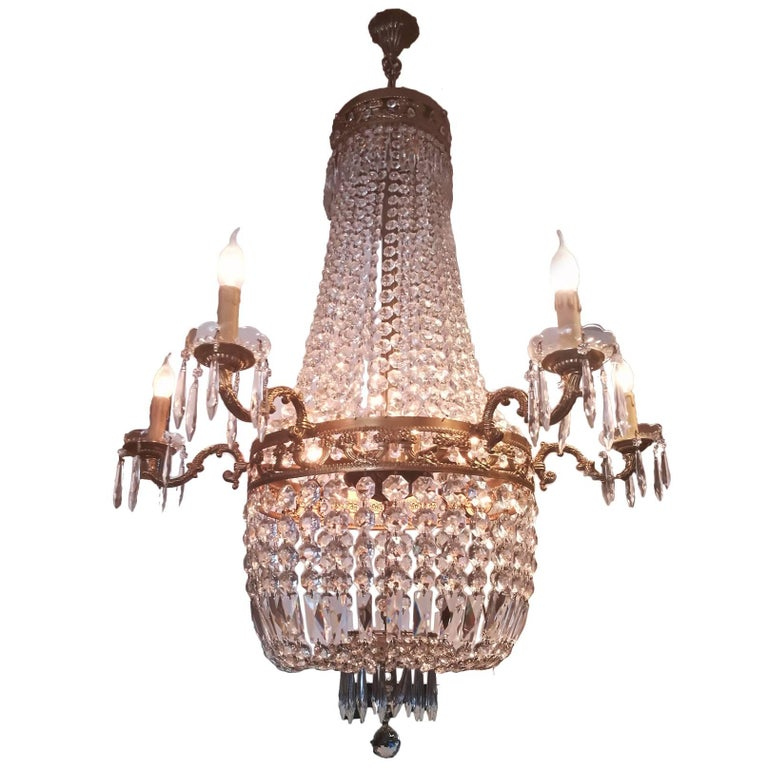 Gilt Bronze and Cut-Glass Empire Style Chandelier, Italy, 20th Century