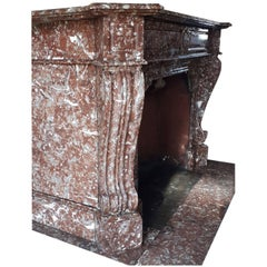 Sturdy Louis Philippe Fireplace in Belgian Rouge Royal Marble
