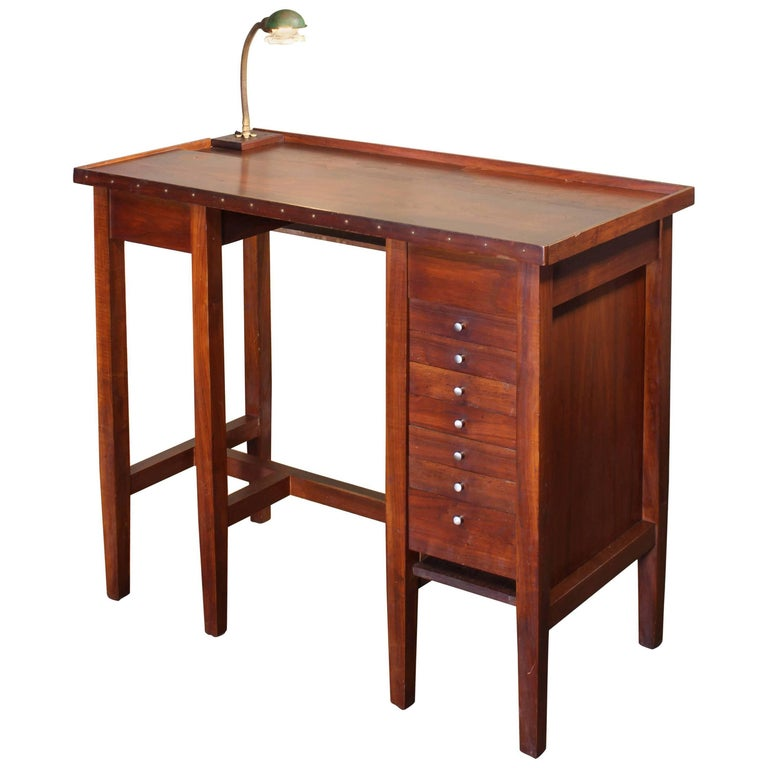 Vintage Jewelers Workbench Table with Desk Lamp