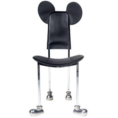"Mickey Chair by Javier Mariscal, ""Garriris"", Black Leather, Spain, 1987"