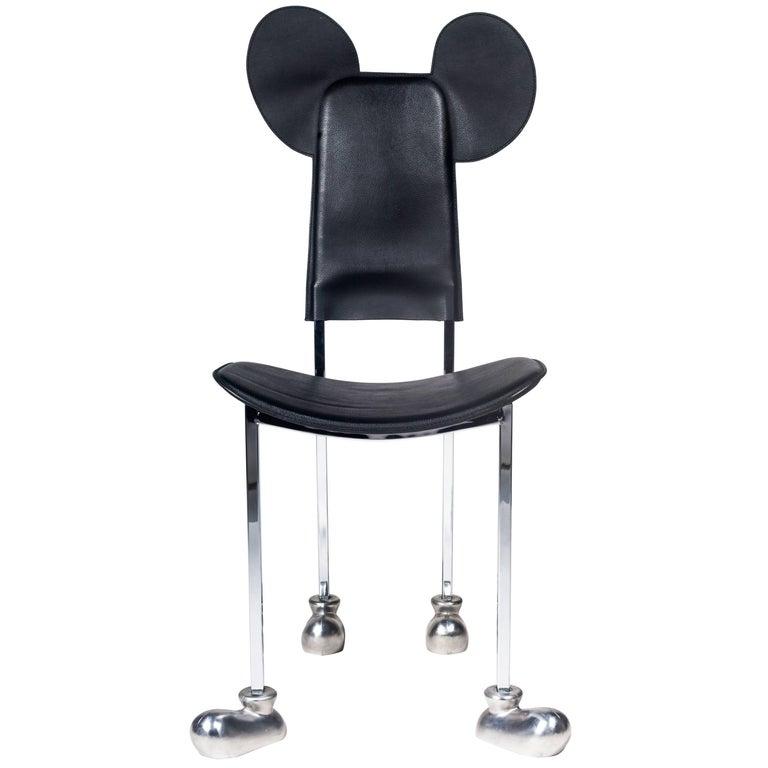 "Memphis Chair by Javier Mariscal, ""Garriris"", Black Leather, Spain, 1987 For Sale"
