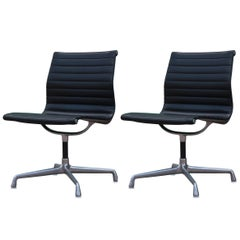 Pair of Herman Miller Aluminum Group Armless Office Chairs
