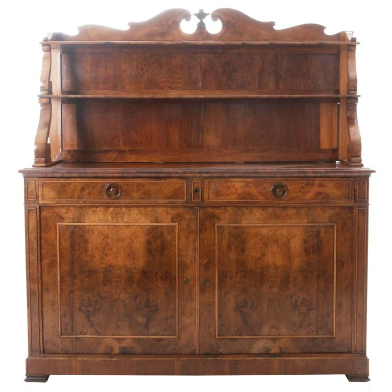 French 19th Century Restauration Burled Walnut Buffet/Server