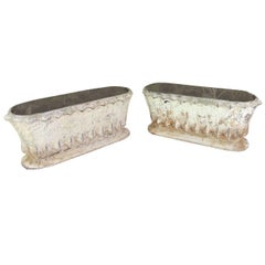 Pair of Diminutive French Cast Iron Jardinieres