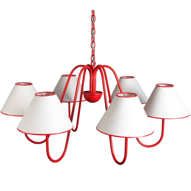 Large 'Bouquet' Six-Arm Chandelier in the Style of Jean Royère