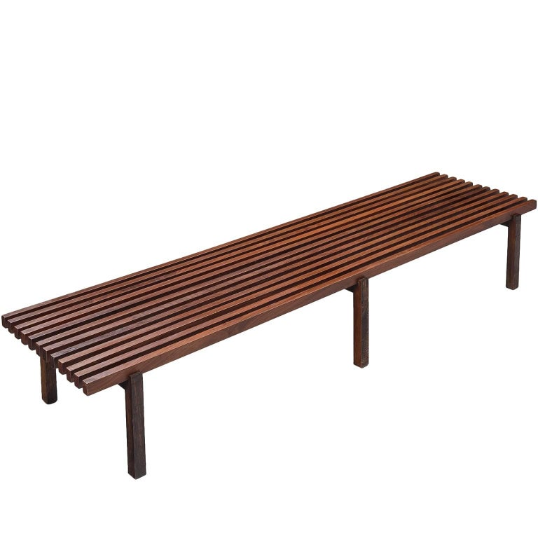 Midcentury Slat Bench in Wenge Wood and Stained Ash
