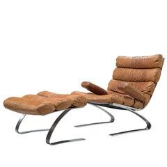 Reinhold Adolf & Hans-jürgen Schräpfer Cognac Leather 'Sinus' Lounge Chair