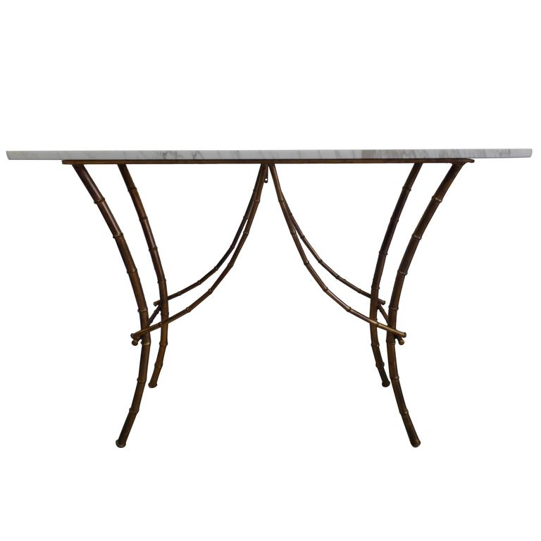 French Midcentury Gilt Iron Faux Bamboo Console by Maison Baguès 1