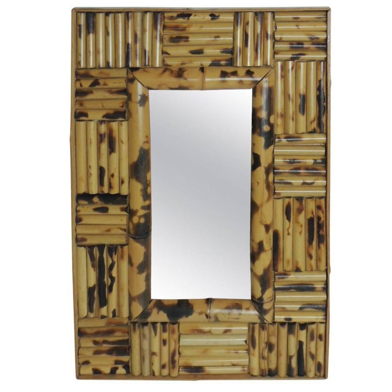 Vintage Bamboo Faux Tortoise Wall Mirror