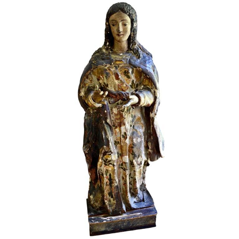 18th Century Italian Renaissance Life-Sized Wood Carving of the Virgin Mary